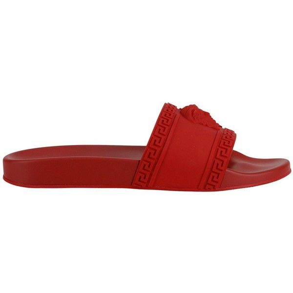 Sandals Shoes Men ($202) ❤ liked on Polyvore featuring men's fashion, men's shoes, men's sandals, menshoes, red, mens sandals, mens rubber shoes, mens red shoes, versace mens shoes and mens shoes