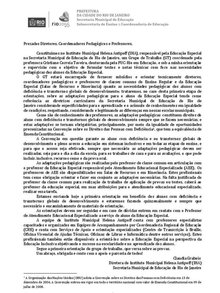 I'm reading Orientações da Educação Especial para Adaptações em provas 05.04.2010 on Scribd
