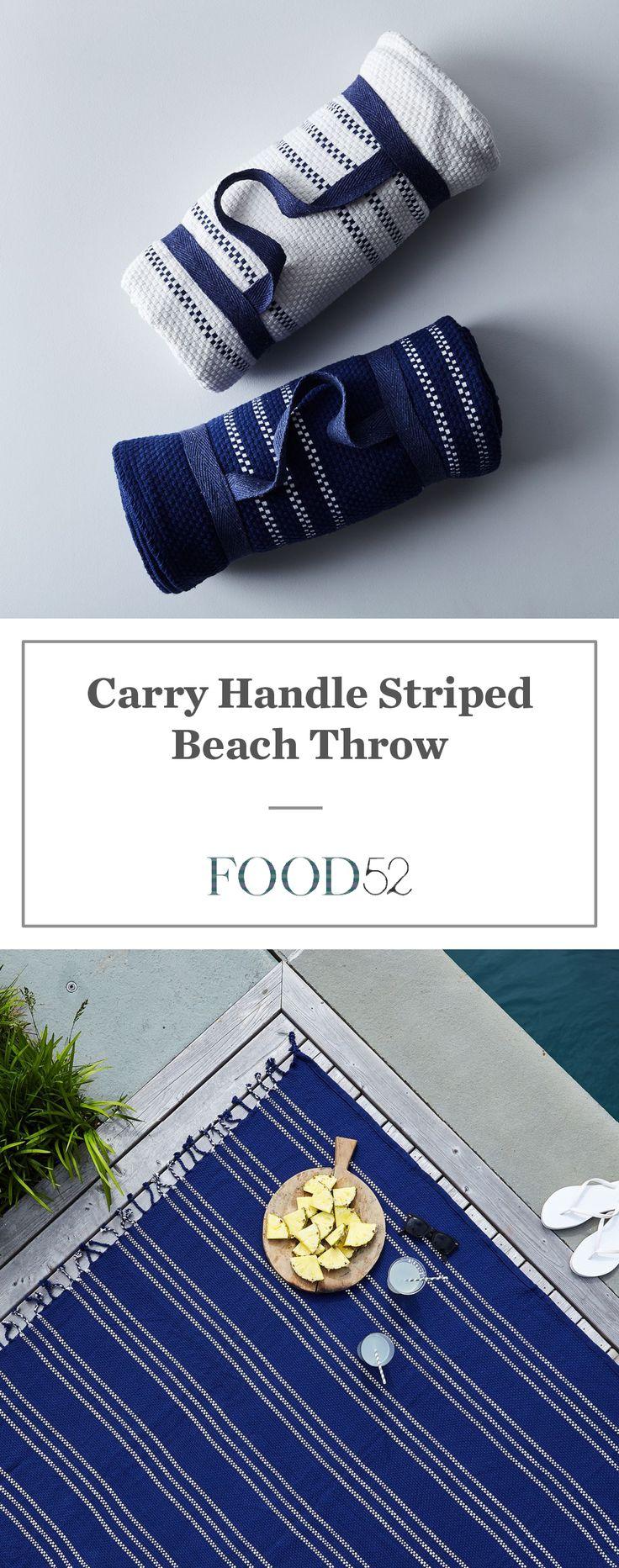 Carry Handle Striped Beach Throw