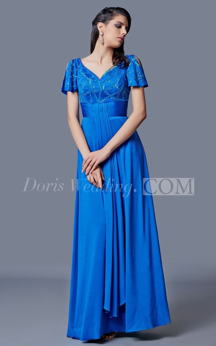 Simplistic Sleeve-draped Long Draping Matte Jersey Long Mother of the Groom Dress, Perfect for Mother of Brides Dresses . #long #DorisWedding.com