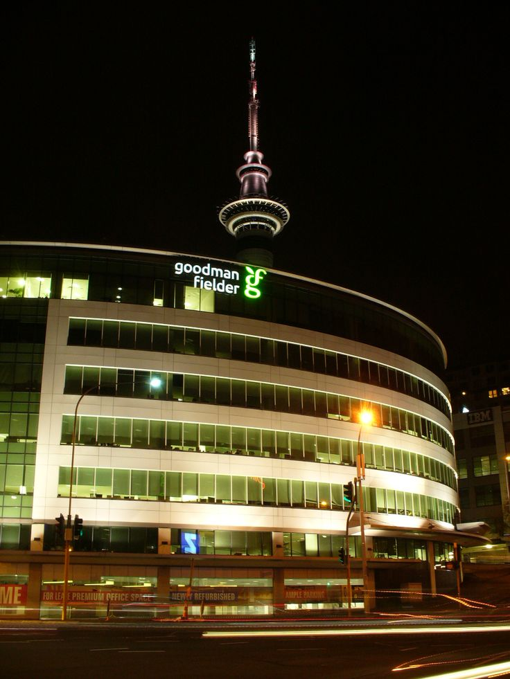 Iconic building name with the Sky Tower in the background 8m wide illuminated LED signage stainless steel letters installed on the seventh floor speedy signs Christchurch Riccarton