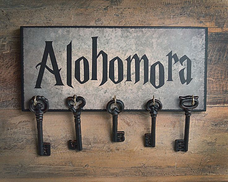 alohomora wooden key holder harry potter sign quote plaque. Black Bedroom Furniture Sets. Home Design Ideas