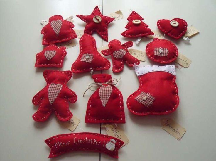 Creazioni in pannolenci per Natale - Decorazioni rosse in pannolenci per Natale