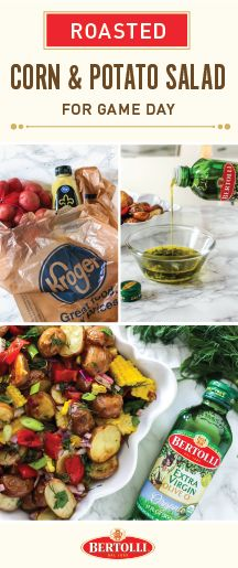 Kick off football season in the most delicious way—with Kroger Game Day Greats and this recipe for Roasted Corn and Potato Salad with Bertolli® Olive Oil dressing! Perfect for completing your tailgating menu, this tasty side dish is a touchdown of flavor thanks to the topping of herb-infused Bertolli® Olive Oil. Score the ingredients for this appetizer and all the essentials you need for your football party at your local Kroger store.