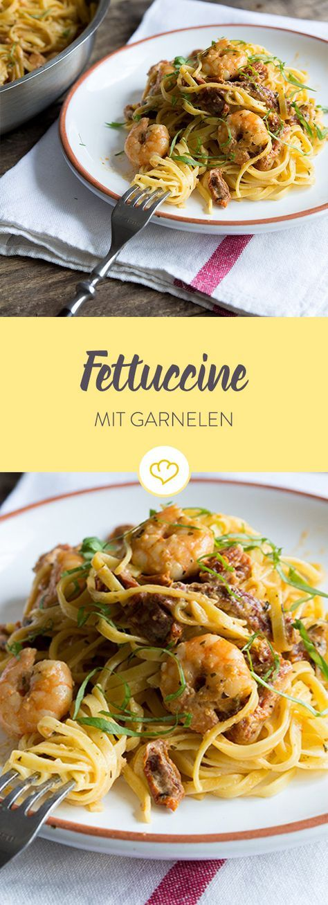 Diese Fettuccine bringen italienisches Flair zu dir nach Hause. Getrocknete Tomaten, frische Garnelen mit viel Knoblauch lassen uns den Süden schmecken.