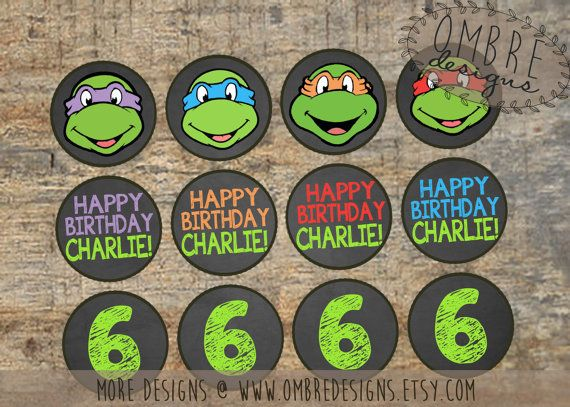 Ninja Turtles Cupcake Toppers Chalkboard TMNT by OmbreDesigns