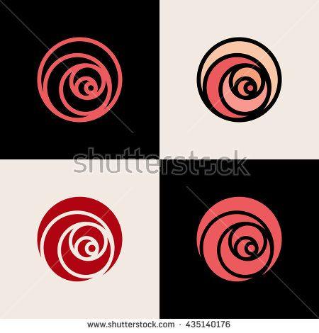 Set of minimalistic rose symbols. Flower logo design template for flower shop…