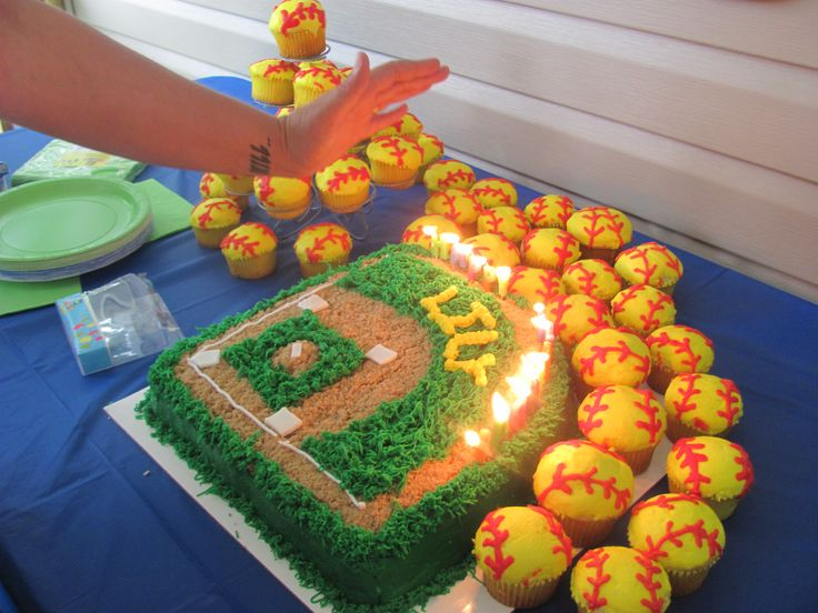 cool softball cake  I think this is this years Jaguars cake!!