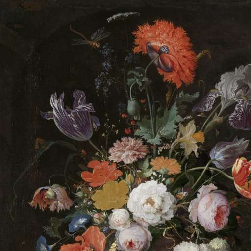 Stilleven met bloemen en een horloge, Abraham Mignon, c. 1660 - c. 1679 - Still lifes - Works of art - Explore the collection - Rijksmuseum