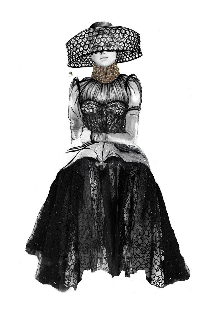 Fashion illustration based on Alexander McQueen's SS13 collection; fashion drawing // Roxanne Palmer