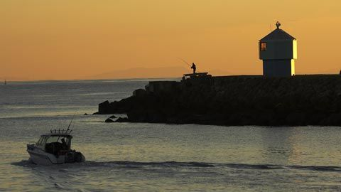 Harbour Entrance and Fishing Boat at Dawn, Napier, New Zealand