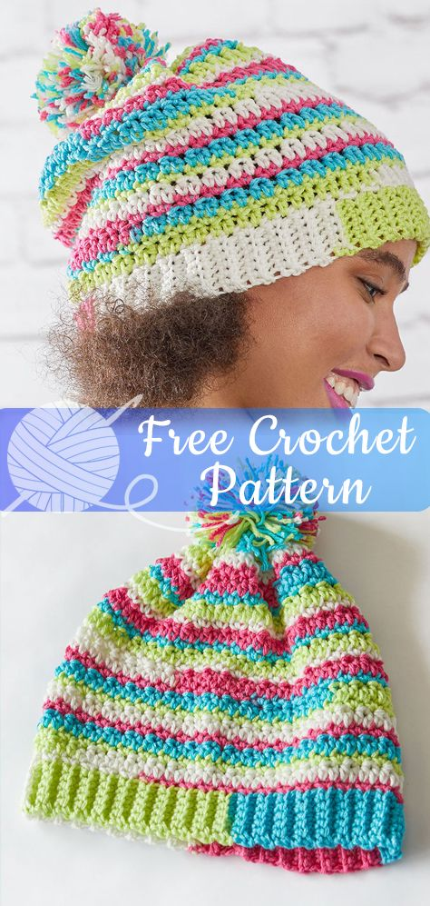 d8f2fa2e147 Crocheting a colorful hat is easy thanks to the auto-changing colors of  Super Saver Stripes yarn. This hat design includes a wide range of sizes  and has a ...