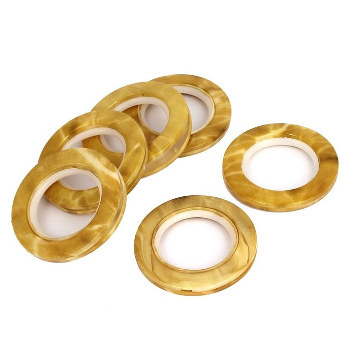 Unique Bargains 43mm Round Shaped Plastic Curtain Drapery Eyelet Rings Clips Grommets Brown 6pcs
