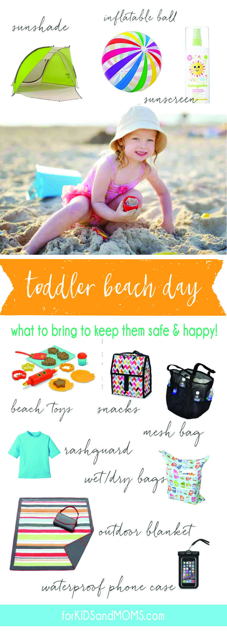 What to Bring to the Beach  Checklist for Vacationing with a Toddler via @forkidsandmoms beach vacation checklist, toddler beach bag checklist, family vacation checklist, what to pack list