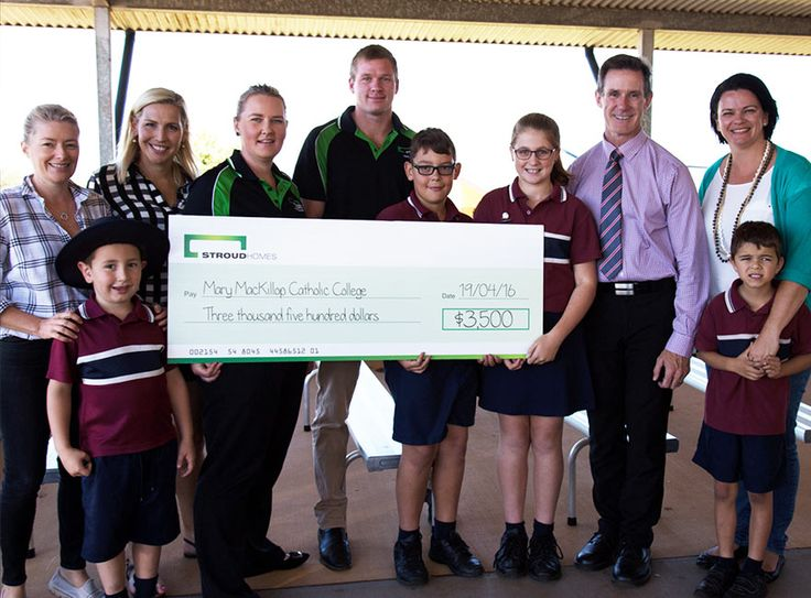 Patrick and Amanda visited Mary MacKillop Catholic College to meet the students set to benefit from Stroud Homes Toowoomba's sponsorship of the Mary MacKillop Race Day. They were very proud to hand over a cheque of $3500 to go towards a much needed undercover area.