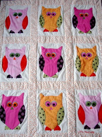 owl quilt... I wonder I my grandmother Would be up to making this in a crib size along with the rest of the bedding.