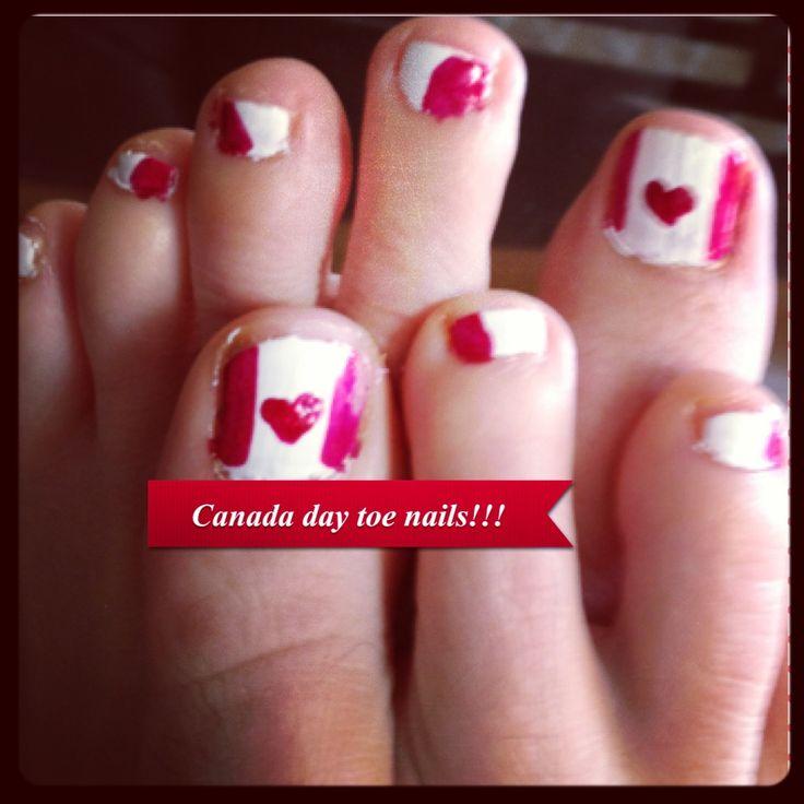 Canada day toe nails
