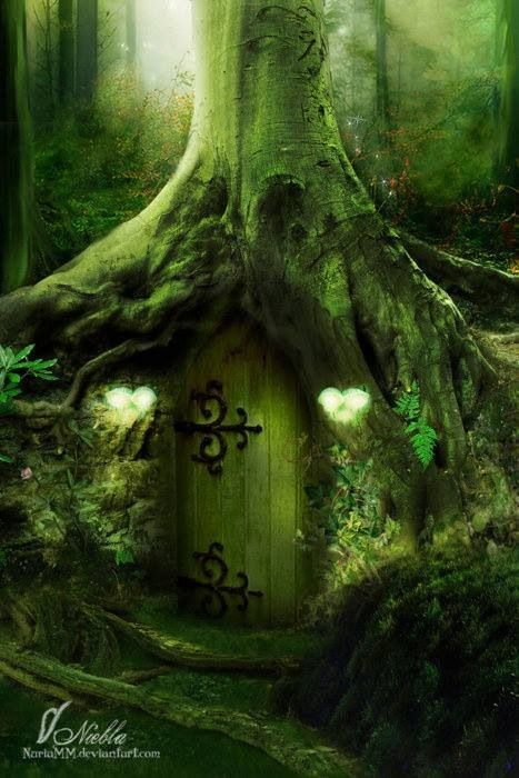 Fantasy wood house magical pinterest front doors for Fairy front door