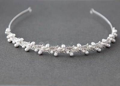 Bridal Headpiece Headband of Rhinestones and Pearls Vine