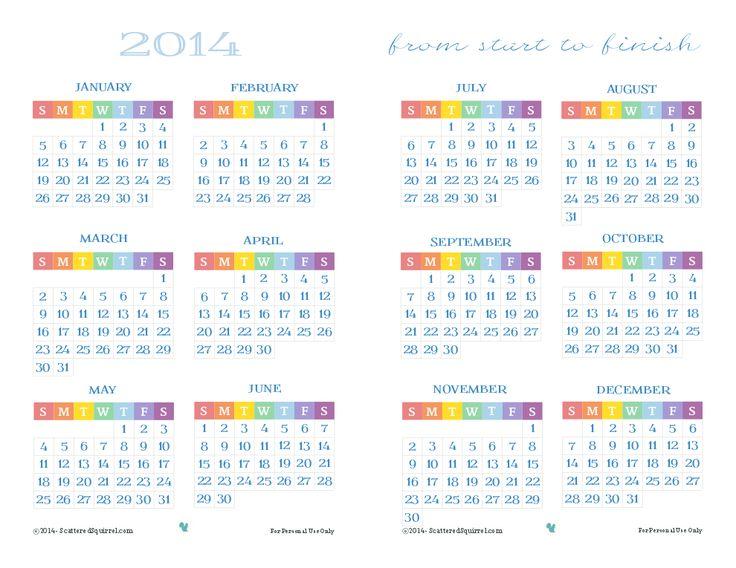 Half Year Calendar Printable : Half size full year calendar printable