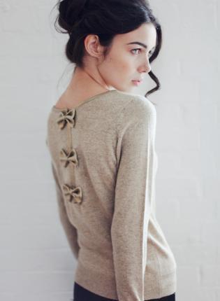 Jenna - Bow Back Beige Glitter Jumper,  Sweater, beige jumoer  glitter jumper  beige and, Chic