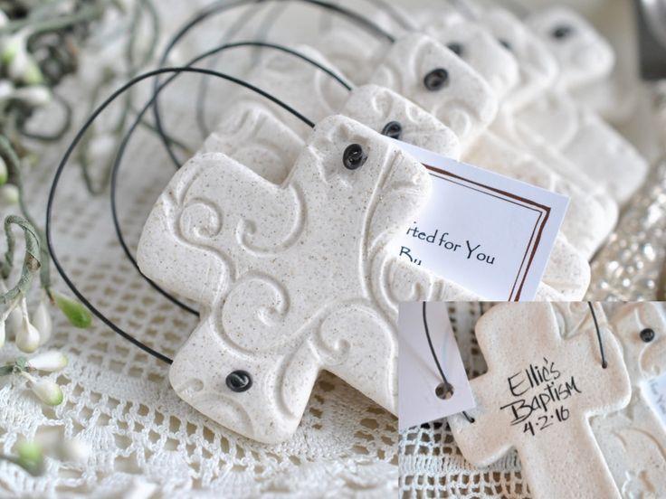 Personalized Baptism / Wedding Favors Set of 10 Salt Dough Cross Ornaments