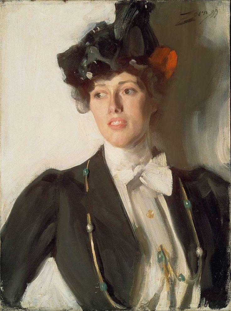 Anders Zorn (1860 - 1920) was een Zweedse schilder, etser en beeldhouwer. Naast zijn portretkunst is Zorn vooral ook bekend om zijn weergaven van het vrouwelijk naakt en om zijn levendige afbeeldingen van het water.   Zorn werkte hij overwegend in een realistische stijl, met name in zijn portretten, maar hij maakte ook veel werken met sterke invloeden vanuit het impressionisme. Martha Dana, 1899