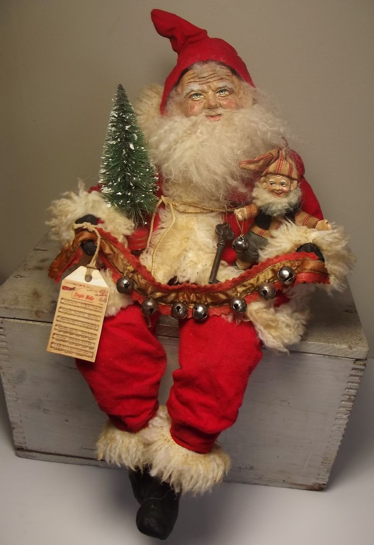 Handmade Santa Claus  & Elf By Kim Sweet~Kim's Klaus~Vintage Antique OoAk Folk Art Doll