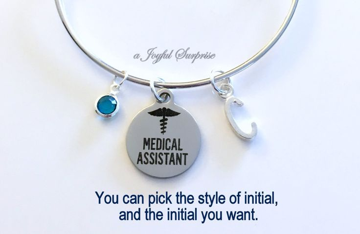 Medical Assistant Bracelet, Silver Charm Bracelet, MA Gift, MA Graduation Jewelry Bangle initial birthstone letter Personalized custom by aJoyfulSurprise on Etsy
