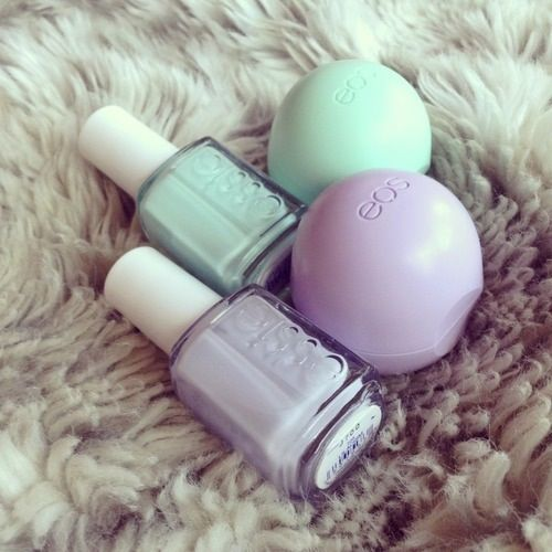Purple and mint Essie and EOS ❁♡