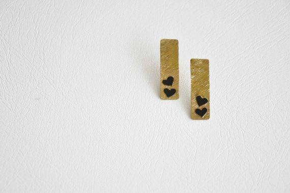 Gold heart earrings Brass metal earrings Ready to ship by zOOzART, $20.00