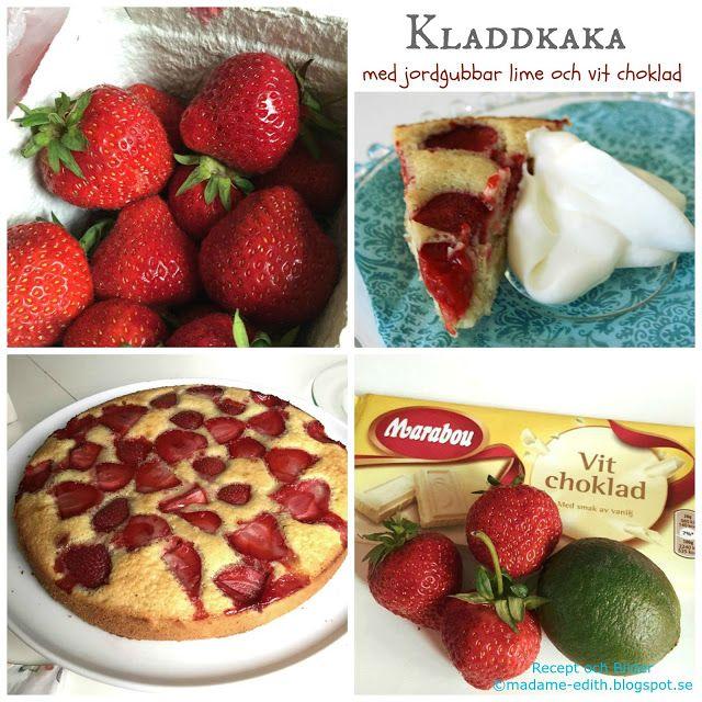 Madame Edith - Recept: Recept på kladdkaka med jordgubbar - Jordgubbskladdkaka