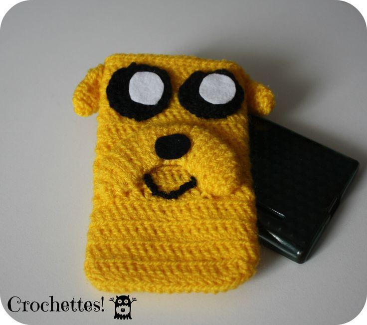 Funda para móvil de Jake, el Perro (Hora de aventuras) Mobile case, Jake the dog (adventure time)  Crochet.