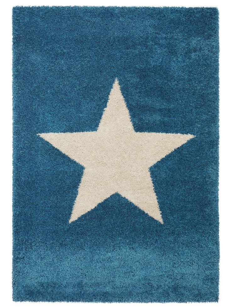 Benuta Teppiche Shaggy Langflor Hochflor Teppich Graphic Star Blau 140x200 Cm