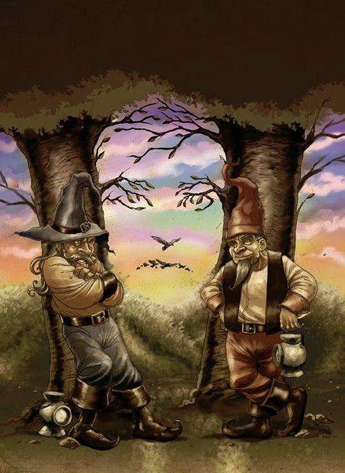 Je kan twee bomen zien met mannen die er tegen aanleunen maar je kan ook een gezicht zien tussen de twee bomen