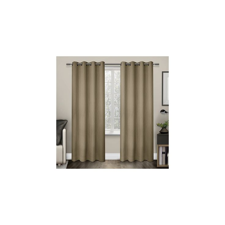 """Crete Textured Jacquard Thermal Window Curtain Grommet Top Panel Pair Camel (54""""x84"""") - Exclusive Home"""
