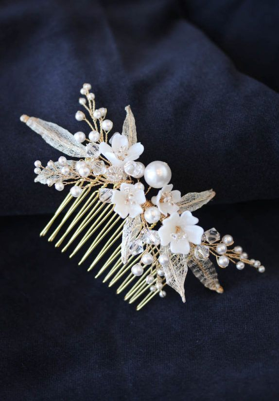 ALESSIA bridal hair comb in gold 1