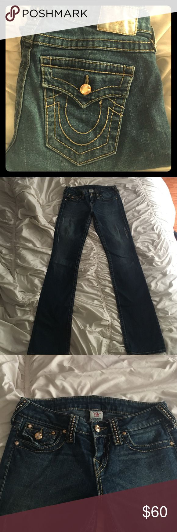 True Religion Disco Becky Jeans True religion jeans with real gold Swarovski crystals. Bottoms are worn from dragging on the ground as seen in the last picture. There's also a patch on the inside on the left leg where one of the distress marks opened into a hole. True Religion Jeans
