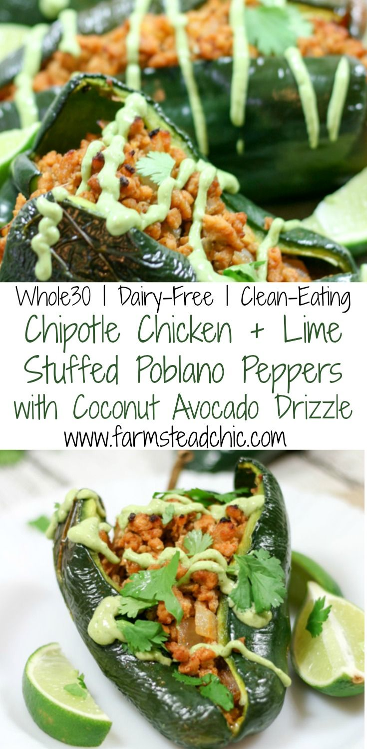 These Chipotle Lime Chicken Stuffed Poblano Peppers are a Mexican fiesta in your mouth. Spicy, sweet, tangy + smoky = mouthwatering. Paleo and Whole30!