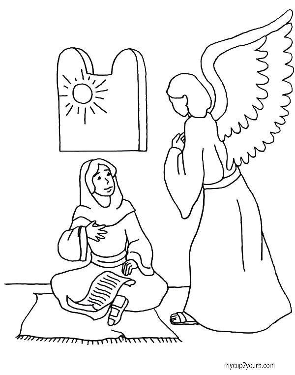 Angel Visiting Mary Coloring Pages Angel Coloring Pages Christmas Coloring Pages Jesus Coloring Pages