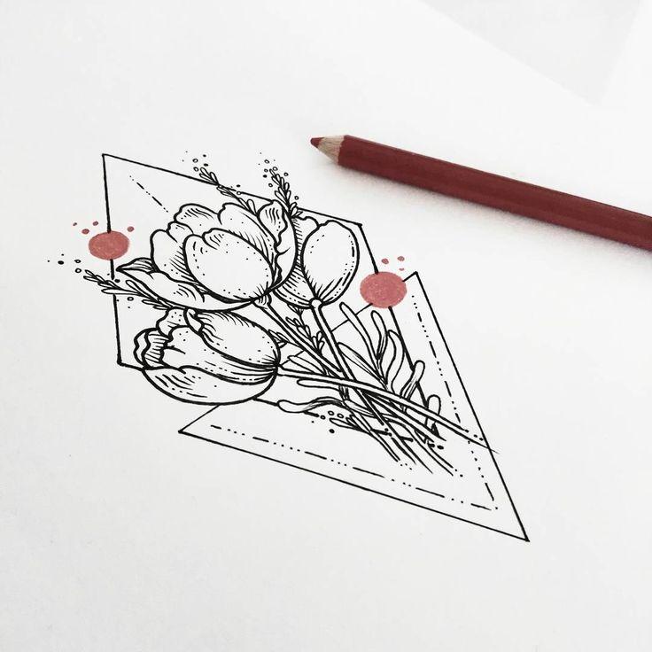 Tulipanes con lavanda para el tatuaje de hoy  Para diseños y tatuajes manden…