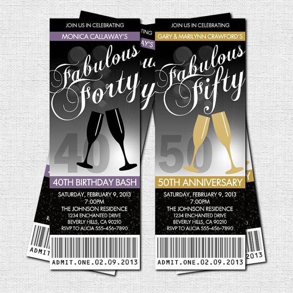 MILESTONE BIRTHDAY or ANNIVERSARY Party Ticket Invitations (printable)