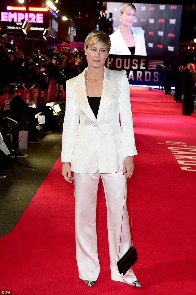 She means business: House Of Cards' Robin Wright dresses in a white tailored suit for the ...