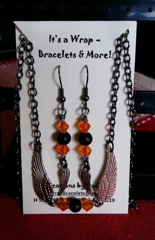 Wing Necklace and Earrings - Jewelry creation by It's A Wrap - Bracelets & More