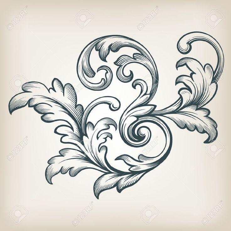 Vintage Barock Rolleentwurf Rahmen Gravur Akanthus Blumengrenze Musterelement Retro-Stil Filigrane Vektor Lizenzfrei Nutzbare Vektorgrafiken, Clip Arts, Illustrationen. Image 32881590.