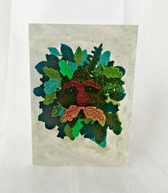 Green Man Greetings Card Crochet Card Pagan Wiccan New Age