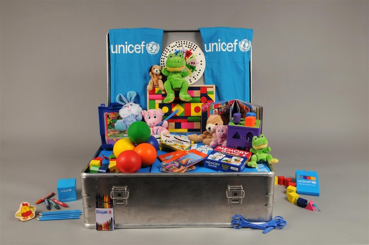 The contents of an open Early Childhood Development (ECD) Kit.    The ECD Kit targets children under six years old who represent the highest percentage of those affected by today's emergencies, including natural disasters, earthquakes, cyclones, war and conflict.  Each box includes supplies for approximately 50 children. © UNICEF/Susan Markisz - Learn more: http://www.unicef.org/earlychildhood/index_42890.html