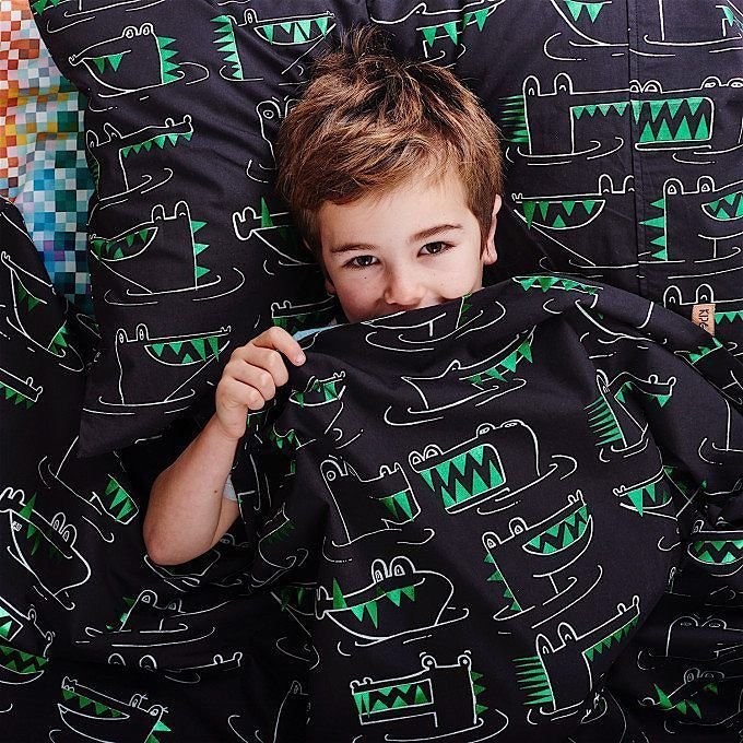 A little more Kip & Co magic for you. This is the Snap Snap kids' bed linen in black with metallic green foil. Watch your fingers x  w w w . m i l k t o o t h . c o m . a u