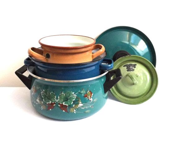 Vintage Enamel Stock Pot with Lid Handles Canning Casserole Rustic Large Enamelware Stockpot Sauce Pan Container Blue Brown Farmhouse Decor