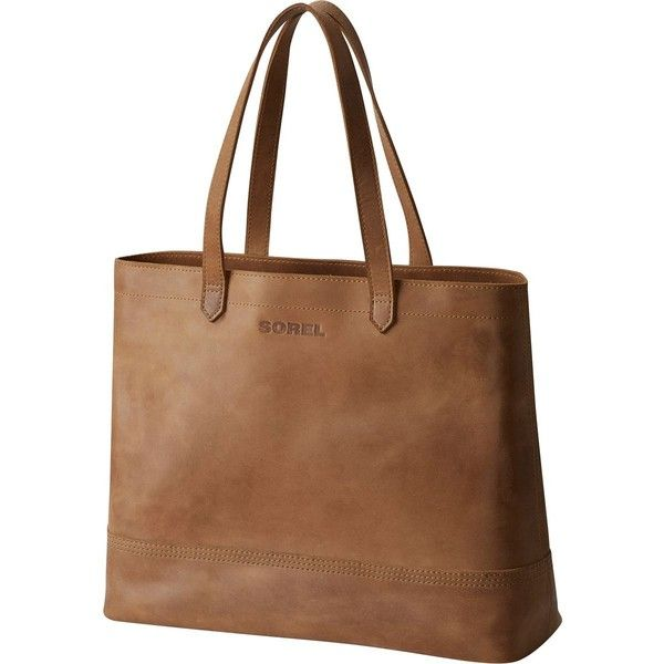 Sorel Leather Tote ($300) ❤ liked on Polyvore featuring bags, handbags, tote bags, handbags totes, tote purses, brown purse, brown leather purse and genuine leather handbags